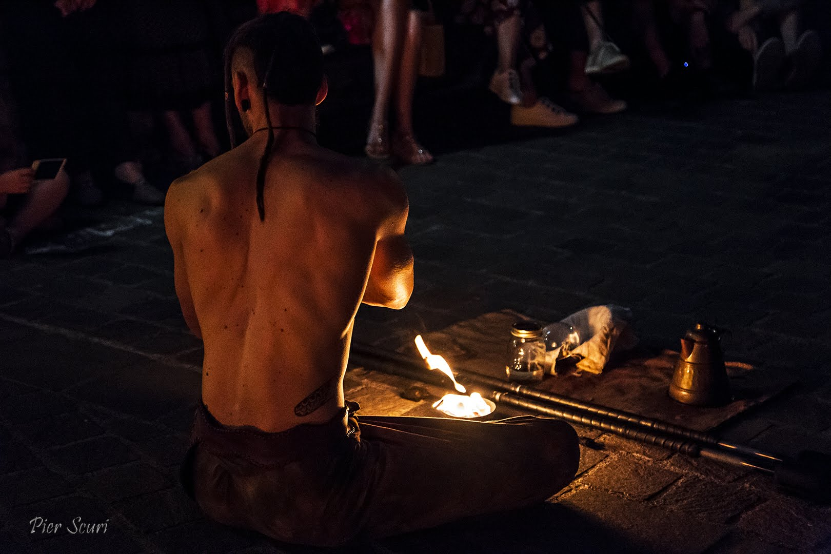 Nicola Colleoni – Performarte – Monte Isola – performance – fuoco